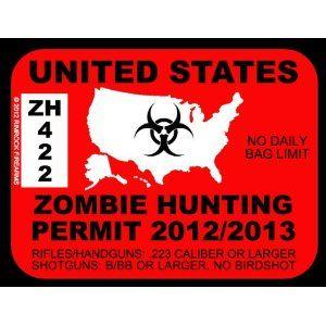Bumper Sticker South Carolina Zombie Hunting Permit