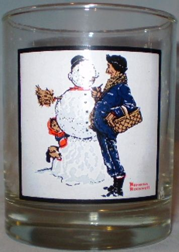 Arby/'s Collector Series Norman Rockwell  Winter Series Glasses Set of 4