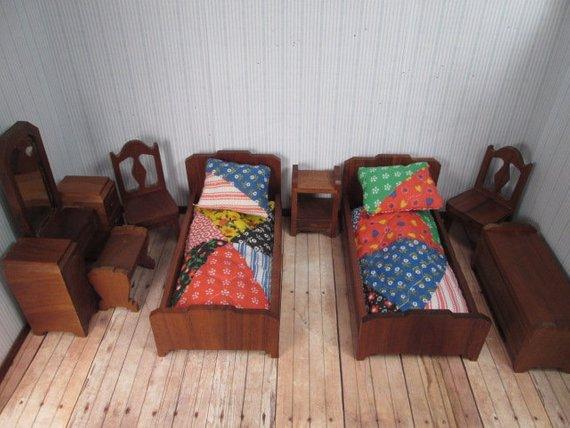 Strombecker Wooden Dollhouse Furniture - 8 Piece Walnut Bedroom Set