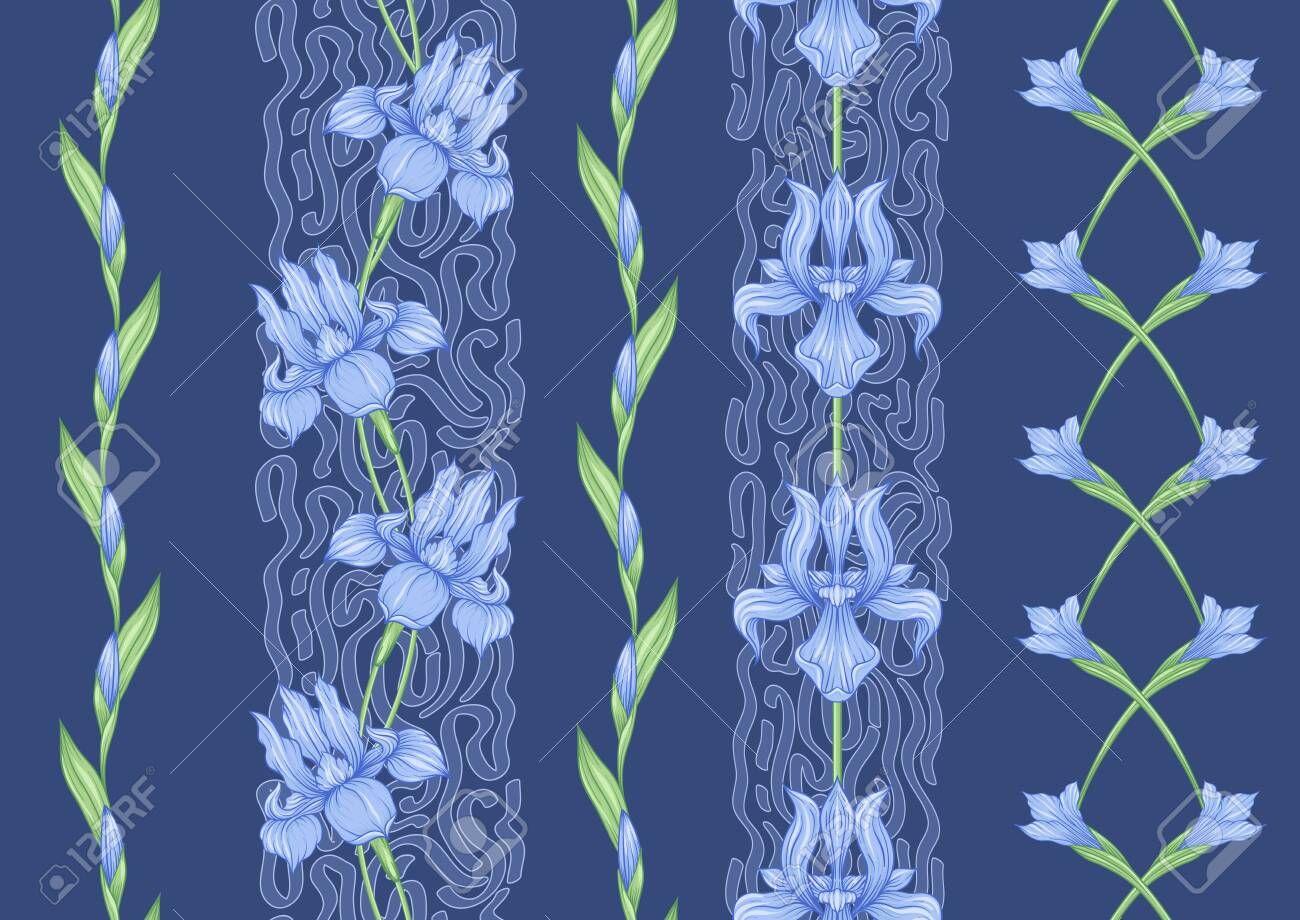 Iris flower, fleurdelis, flowerdeluce, flag. Seamless