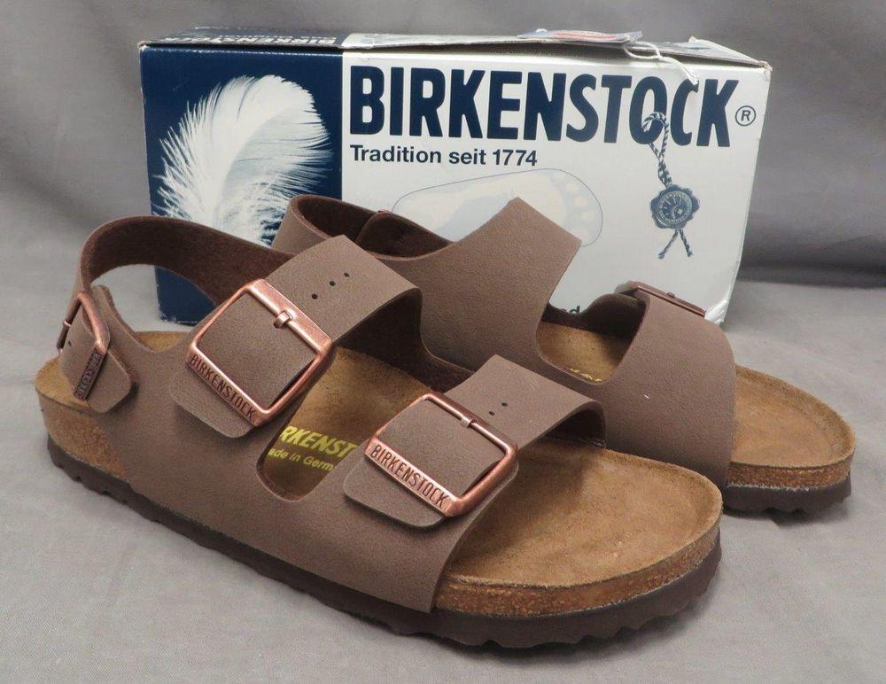 NEW Birkenstock Milano Mocha Brown Nubuck Birko-Flor Cork Sandal Shoe 7 NIB