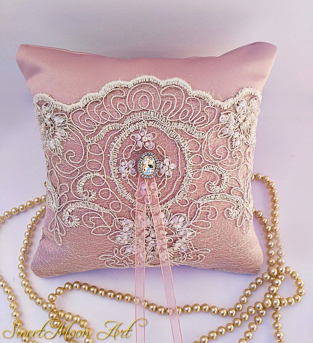 Blush wedding pillow, wedding ring pillow, lace ring pillow, blush ...