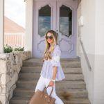 White Denim & Striped Blouse