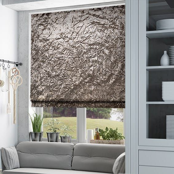 Bedrooms Crushed Velvet Mink Roman Blind