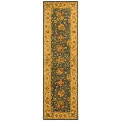 Safavieh Antiquity Blue 2 Ft X 12 Ft Runner Rug At21e 212 The Home Depot Blue Wool Rugs Area Rugs Oriental Wool Rugs