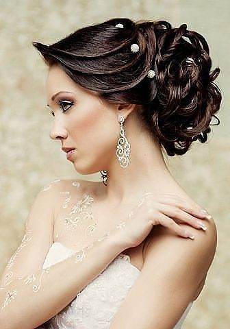 wedding braided hairstyle with spangles side swept bridal
