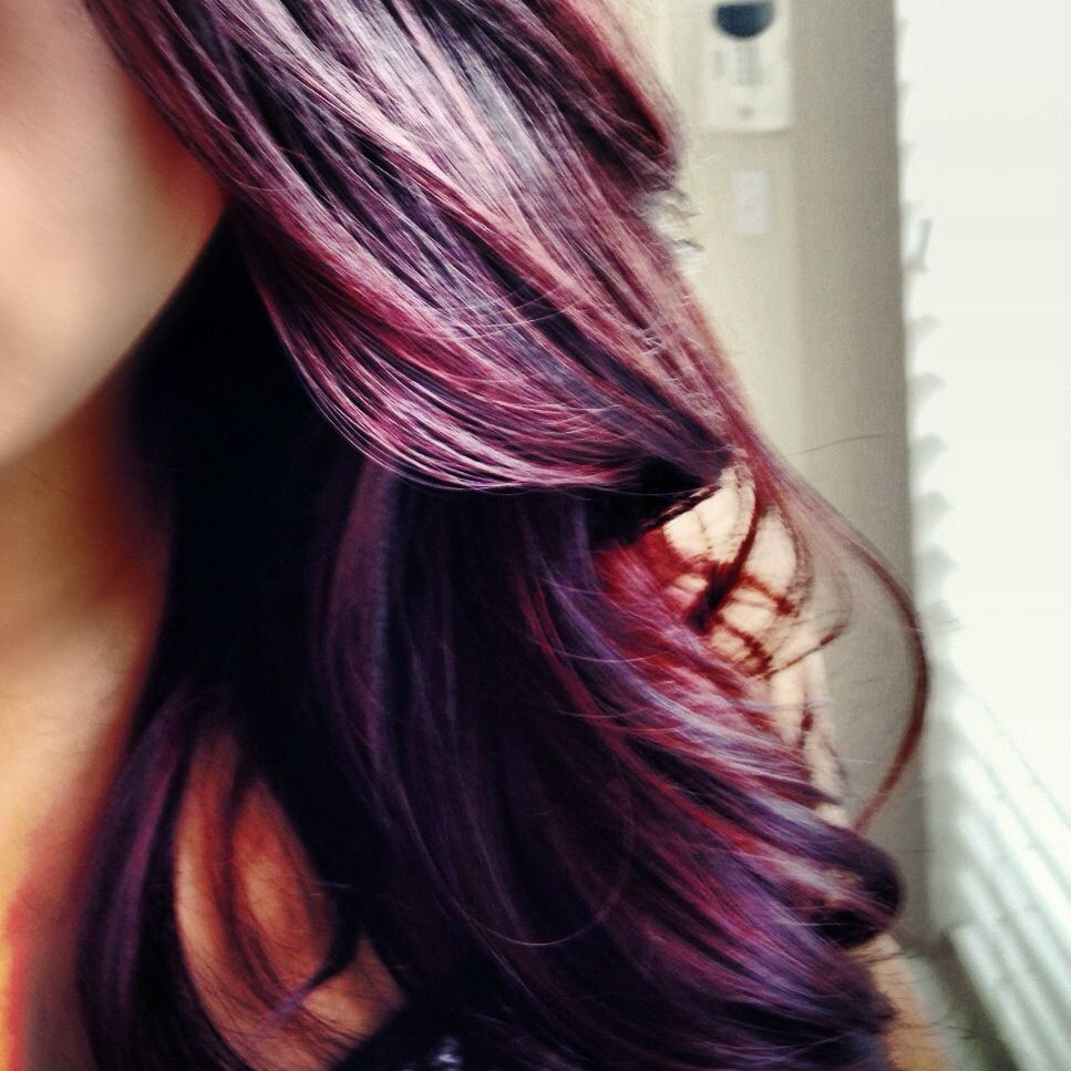 Purple Red Highlights In Brown Hair Hair Color After A Good