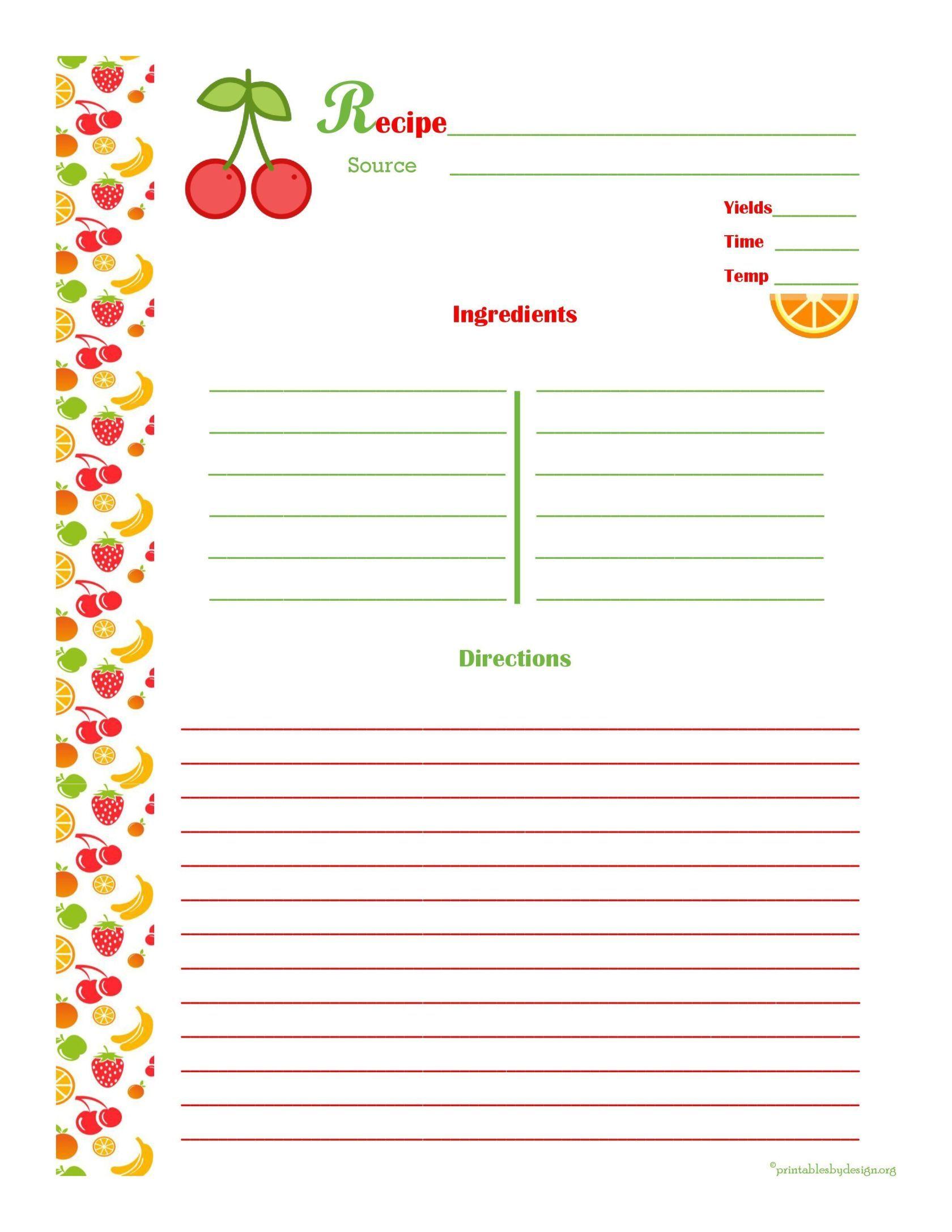 Free Editable Recipe Card Templates For Microsoft Word Free