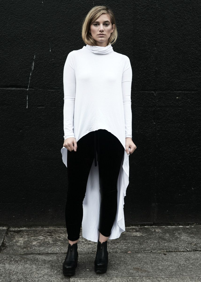 Minimal funnel tunnel long sleeve tunic how to wear white dramatic