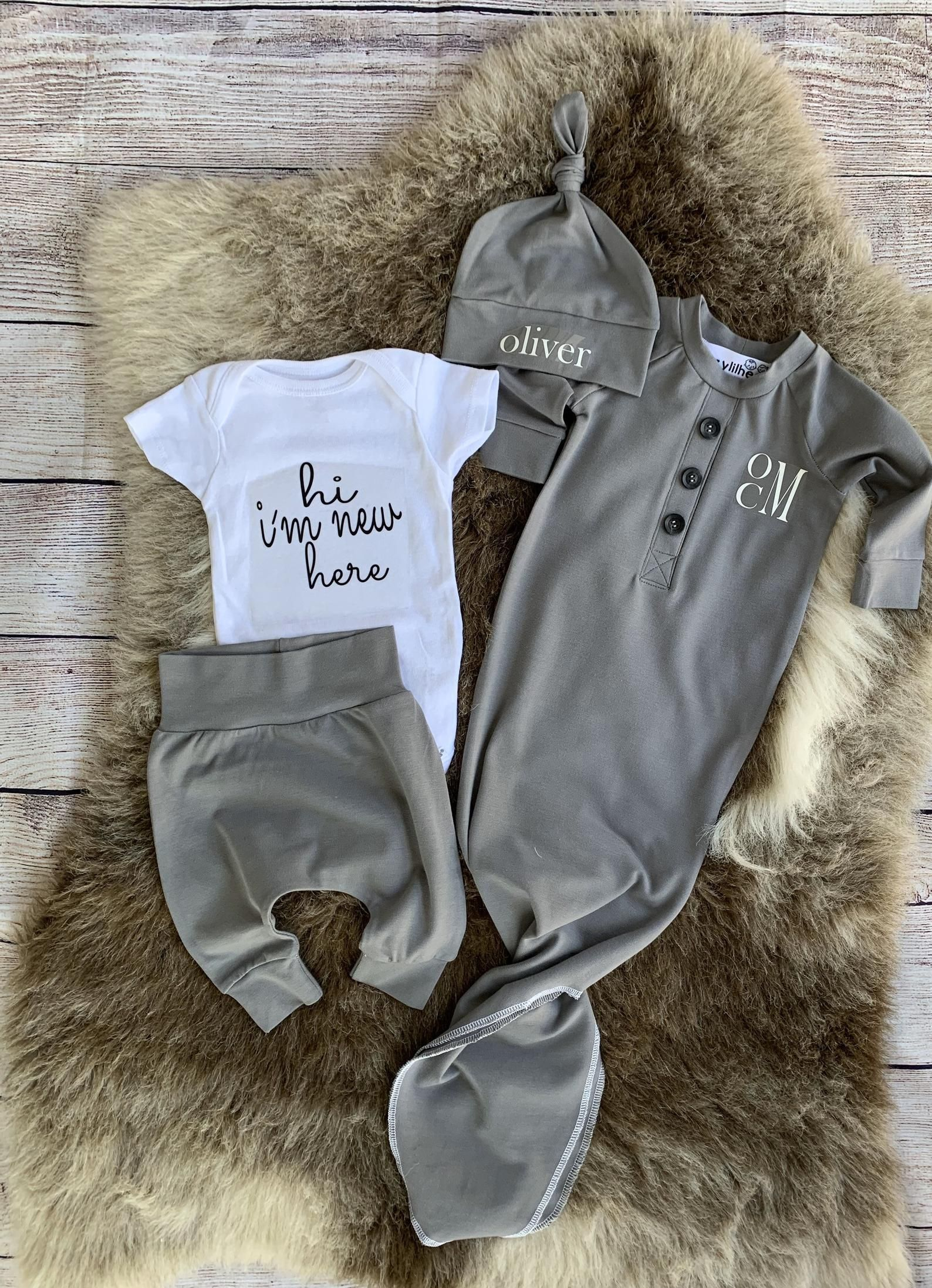 4 pcs set monogrammed option baby boy clothes going home