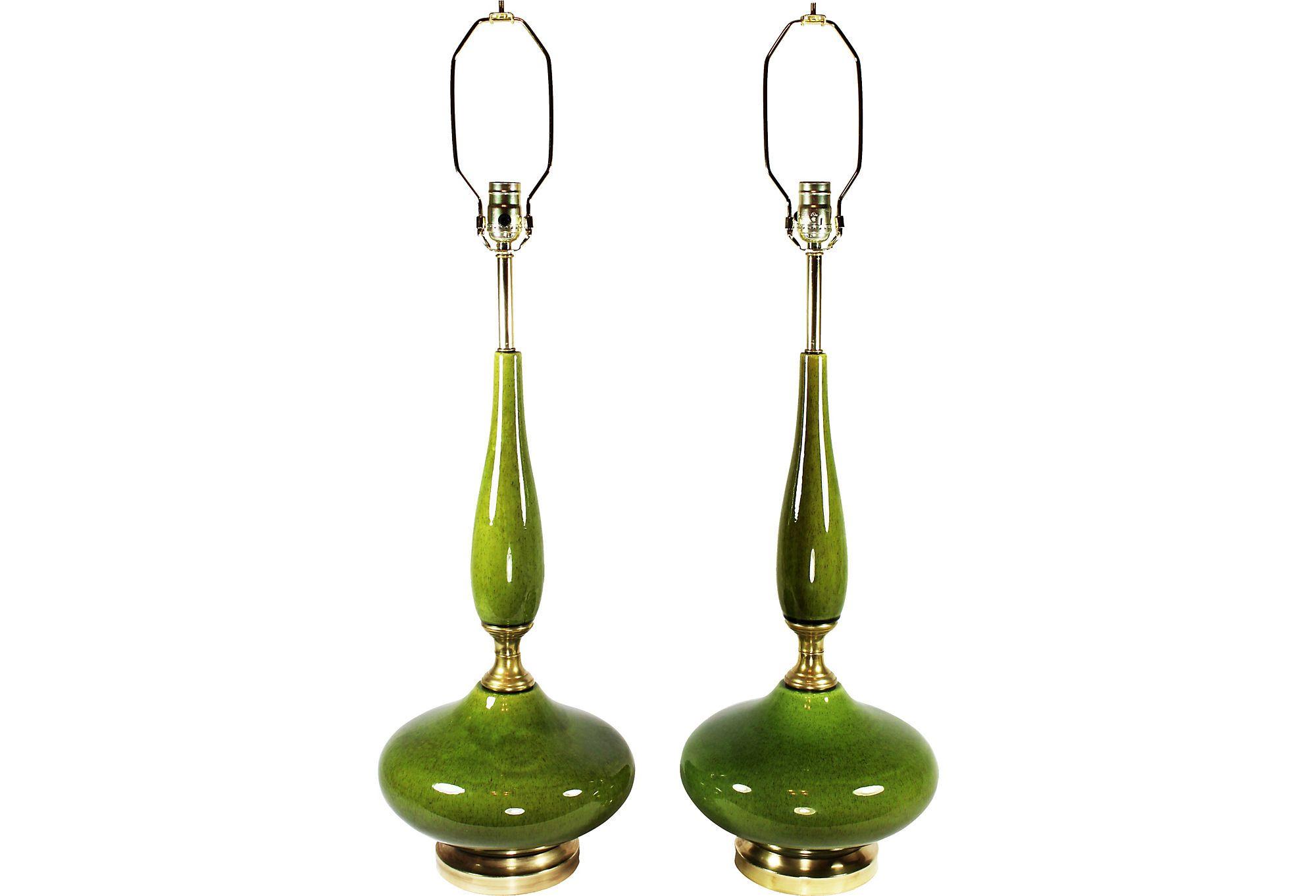Olive Green Genie Lamps, Pair - One Kings Lane - Vintage & Market Finds - Lighting