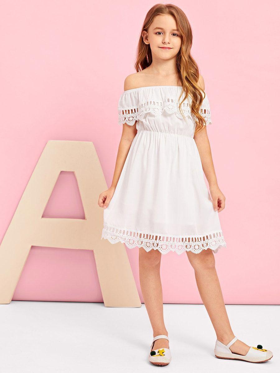 Girls Lace Hem Off Shoulder Dress Shein Sheinside Kids Summer Dresses Dresses Kids Girl Little Girl Dresses [ 1199 x 900 Pixel ]