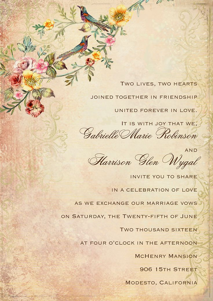 Vintage Themed Wedding Invitation With A Boho Vibe From Invitat Sample Wedding Invitation Wording Wedding Invitation Etiquette Words Wedding Invitation Quotes