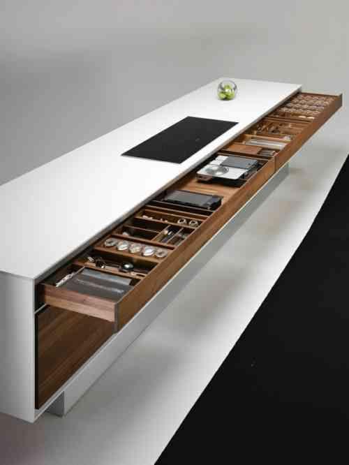 Photo cuisine avec plan de travail moderne en 65 idées Palo verde - Table De Cuisine Avec Plan De Travail