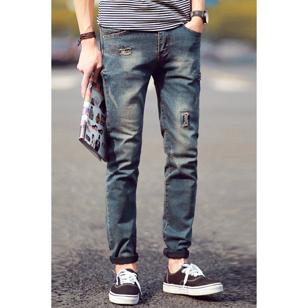 2d83d116b286 Wholesale Vintage Narrow Feet Zipper Fly Pocket and Patch Design Fitted  Men's Denim Nine Minutes of Pants Drop Shipping