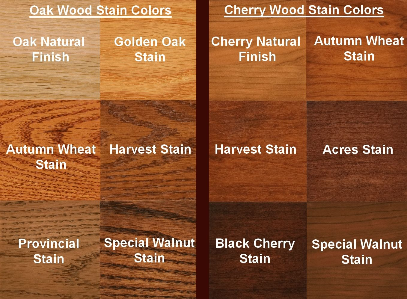 Oak Wood Color ~ Oak color your choice of the following wood species and