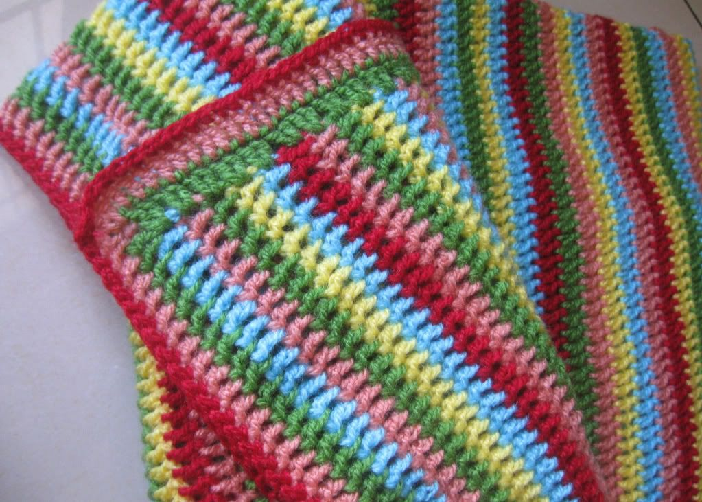 baby blanket crotchet border images | Striped baby blanket is ready ...