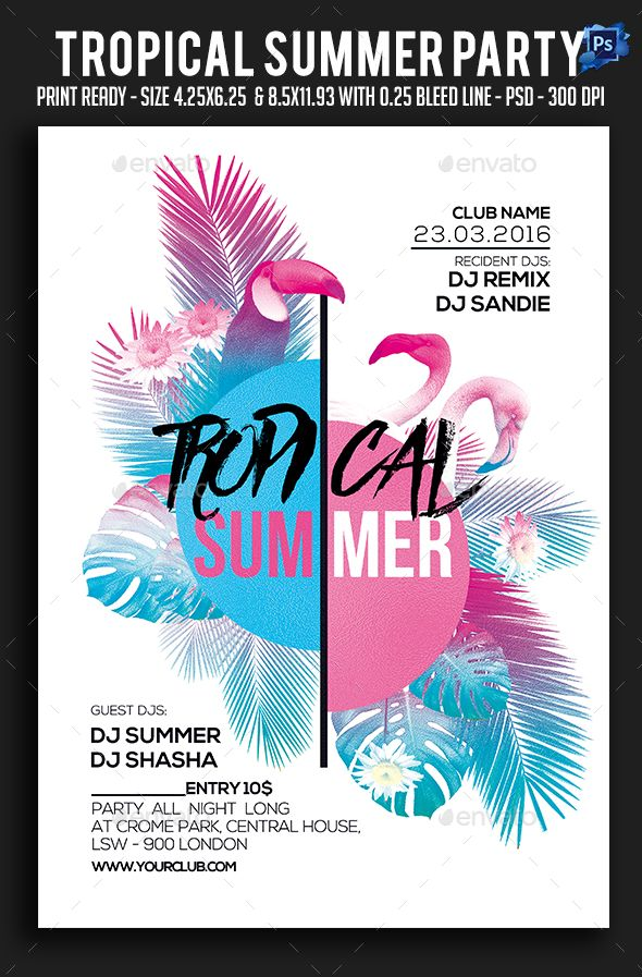 tropical summer party flyer flyer templates party flyer flyer