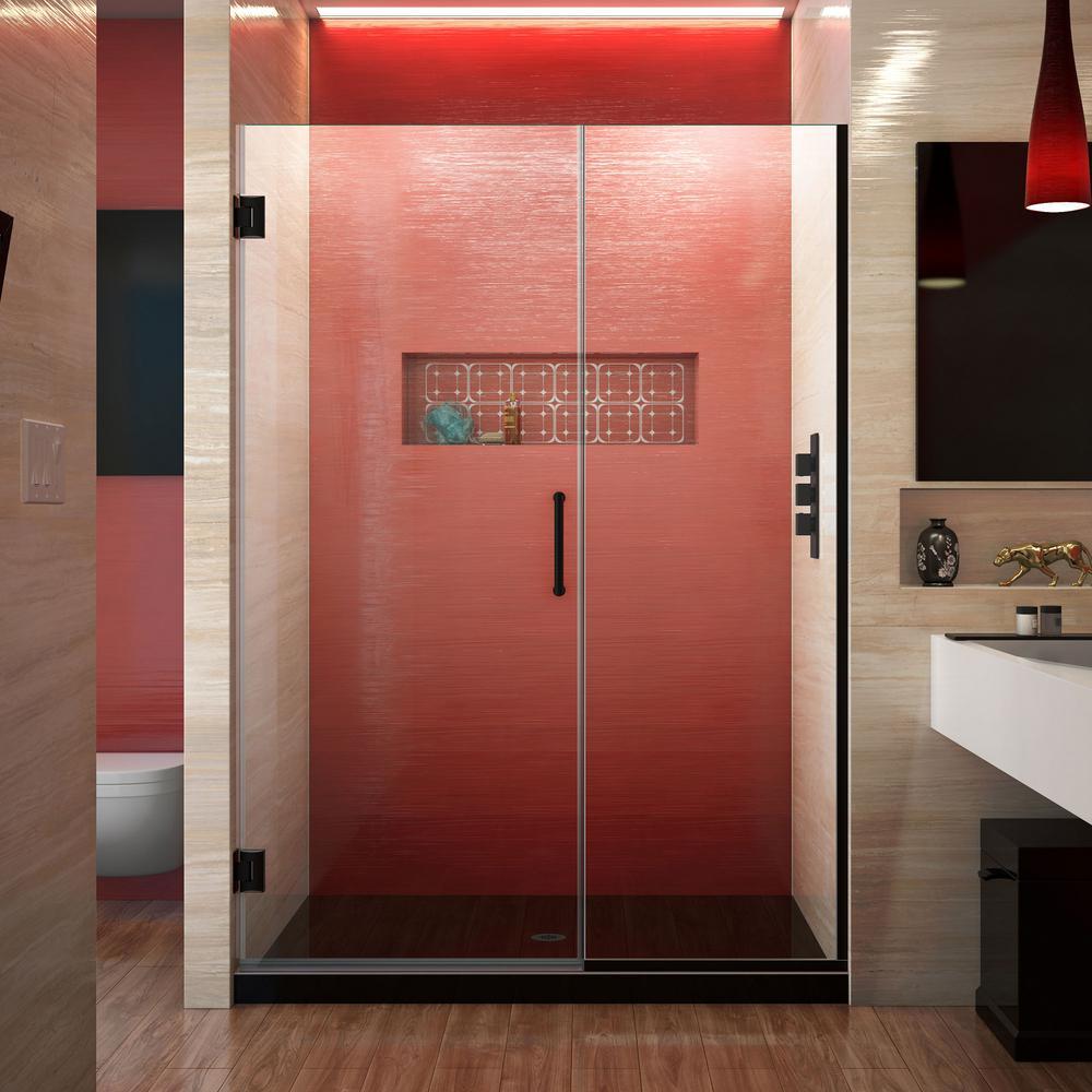 Dreamline Unidoor Plus 49 5 To 50 In X 72 In Frameless Hinged Shower Door In Satin Black Shdr 244957210 09 The Home Depot Shower Doors Frameless Hinged Shower Door Frameless Shower Doors