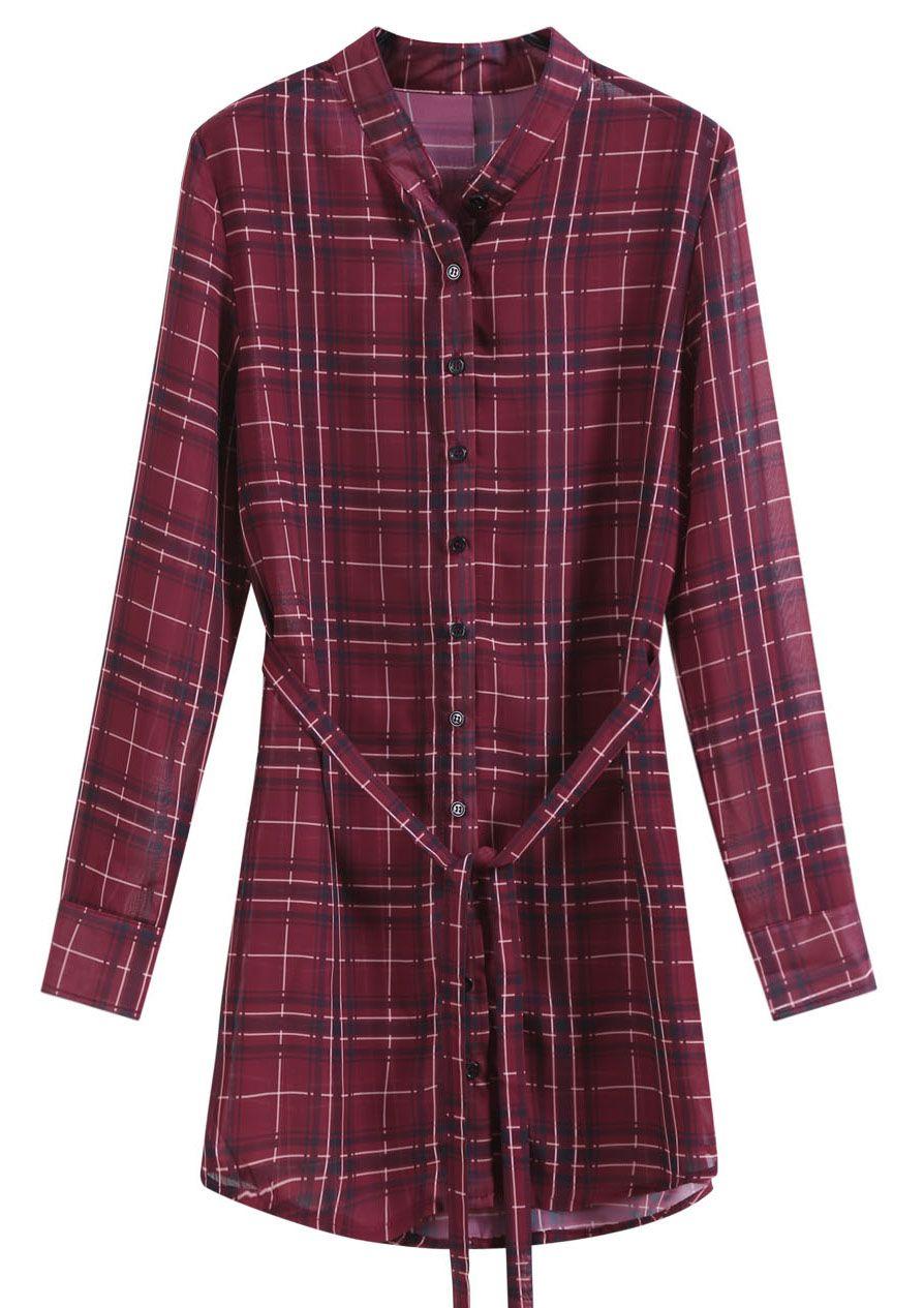 Red Checkered With Belt Chiffon Dress 27.33