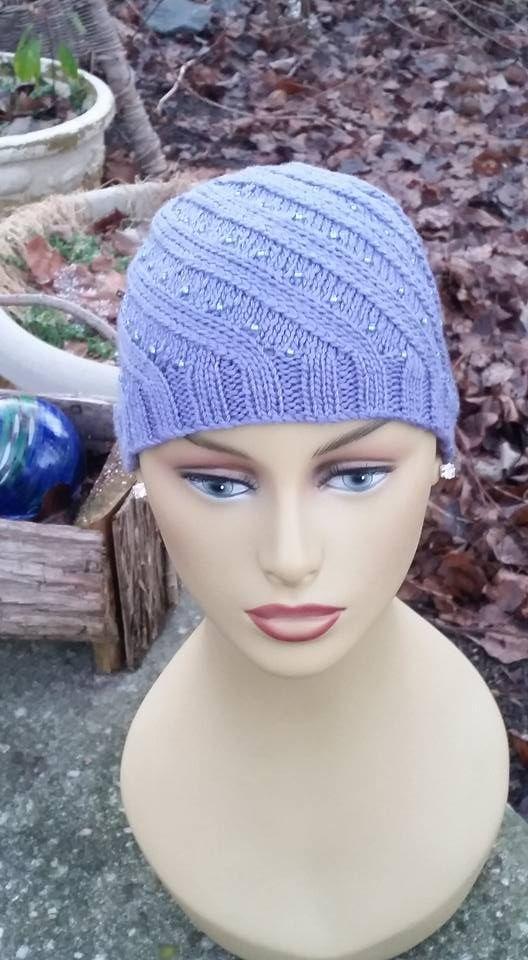 Chemo Cap Knit Beaded | My Hand Knit & Crocheted Chemo Caps ...
