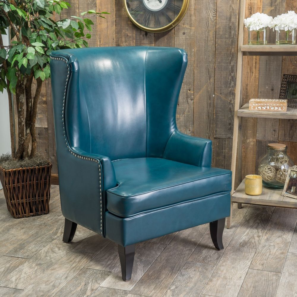 Living Room Furniture Tall Wingback Teal Blue Leather Club Chair Glamorous Wing Chairs For Living Room Design Inspiration