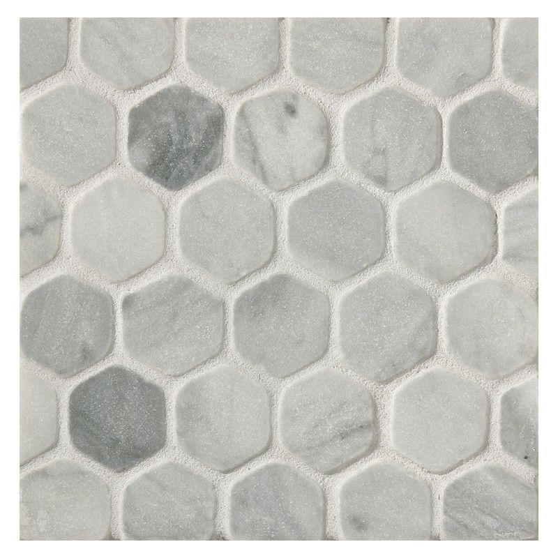 Floor Tiles Hexagon 1 Mosaic Tile Tumbled Bardiglio Marble