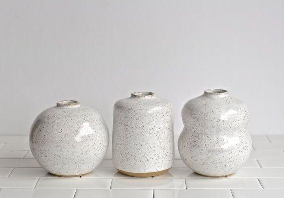 Small White Vases Set Of 3 Vases Handmade Ceramic Vases Bud