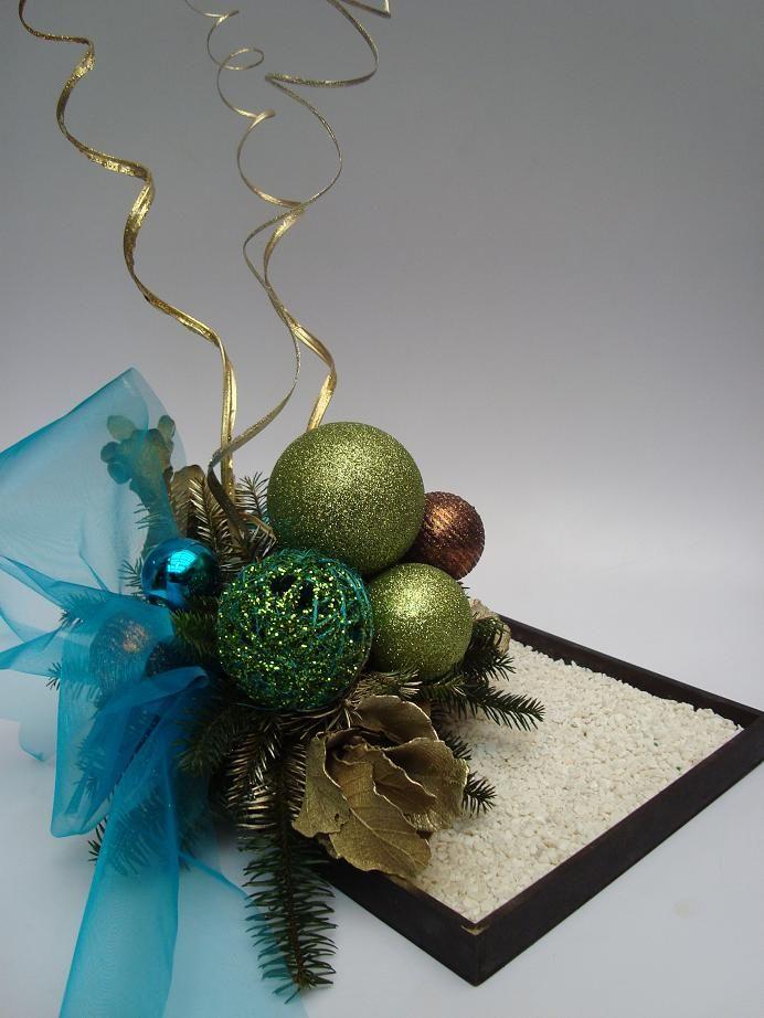 Centros de mesa navide o color aqua practicos guirn - Centros de mesas navidenos ...