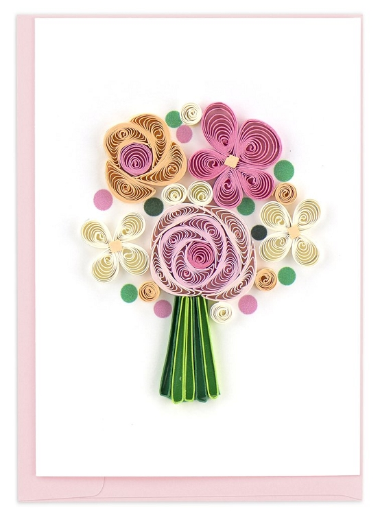 """quilling card """"flower bouquet"""" enclosure card  quilling"""
