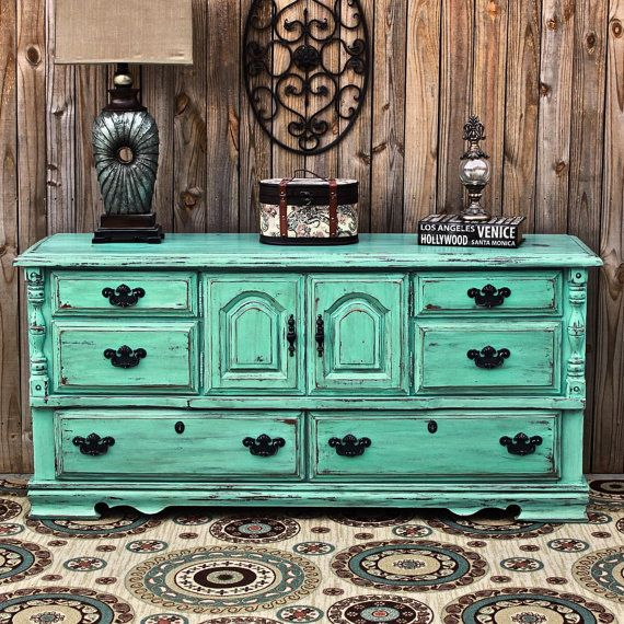 Aqua Dresser Distressed Buffet Shabby Chic By