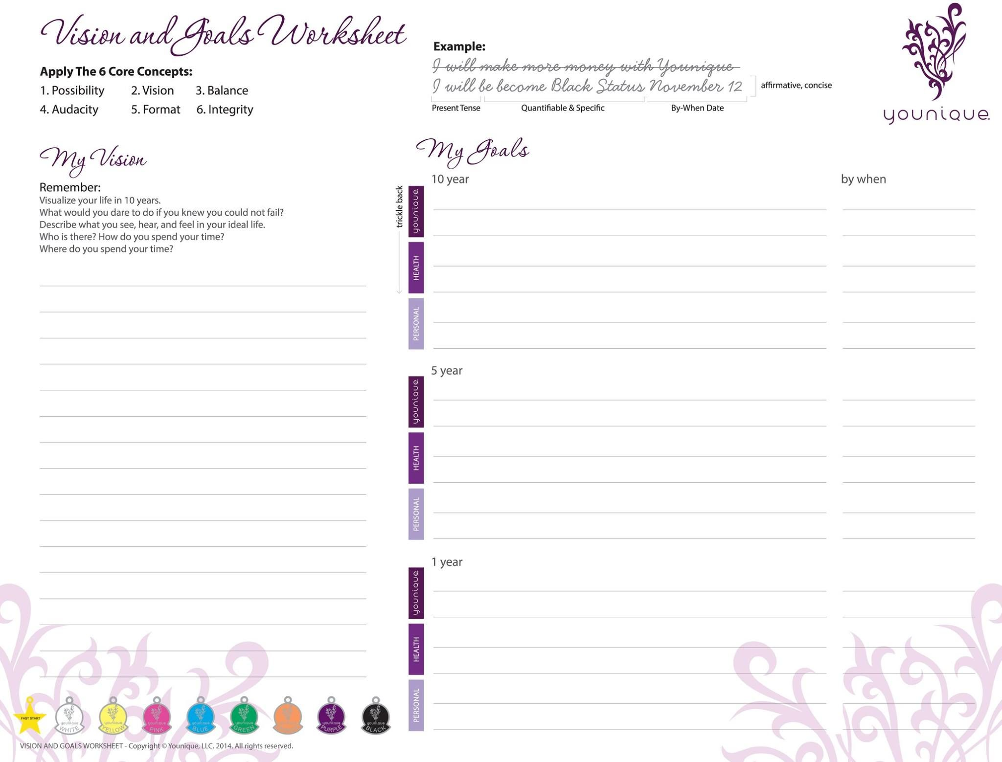 Younique Vision And Goals Work Sheet Pdf File Print Out Available At Www Facebook Com Vinylglphicsc Younique Younique Business Opportunity Younique Business