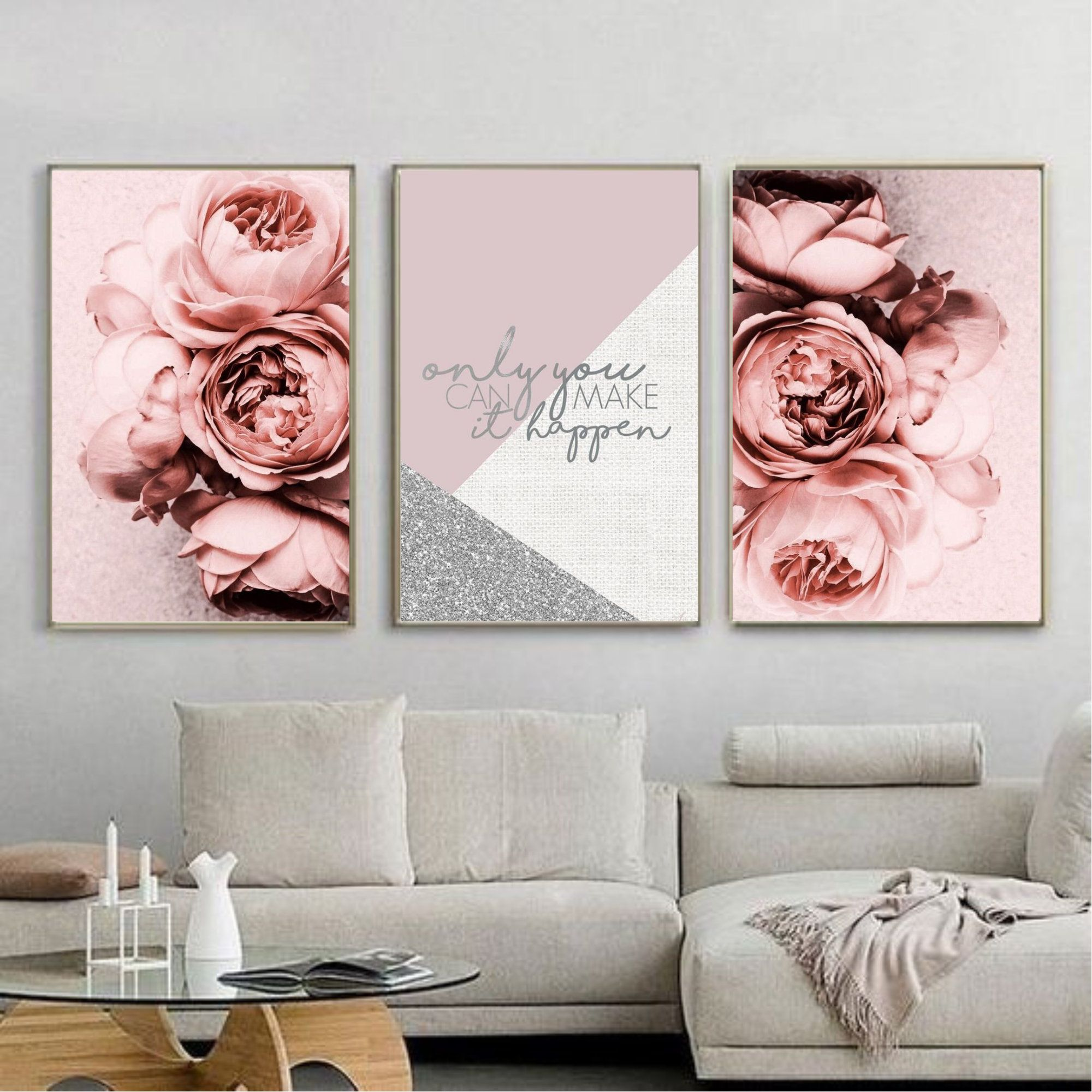 Set of 3 posters Floral Fashion Women Portrait Photography Canvas Painting For Living Room Scandinavian Home Decor Wall Art Printable Gift