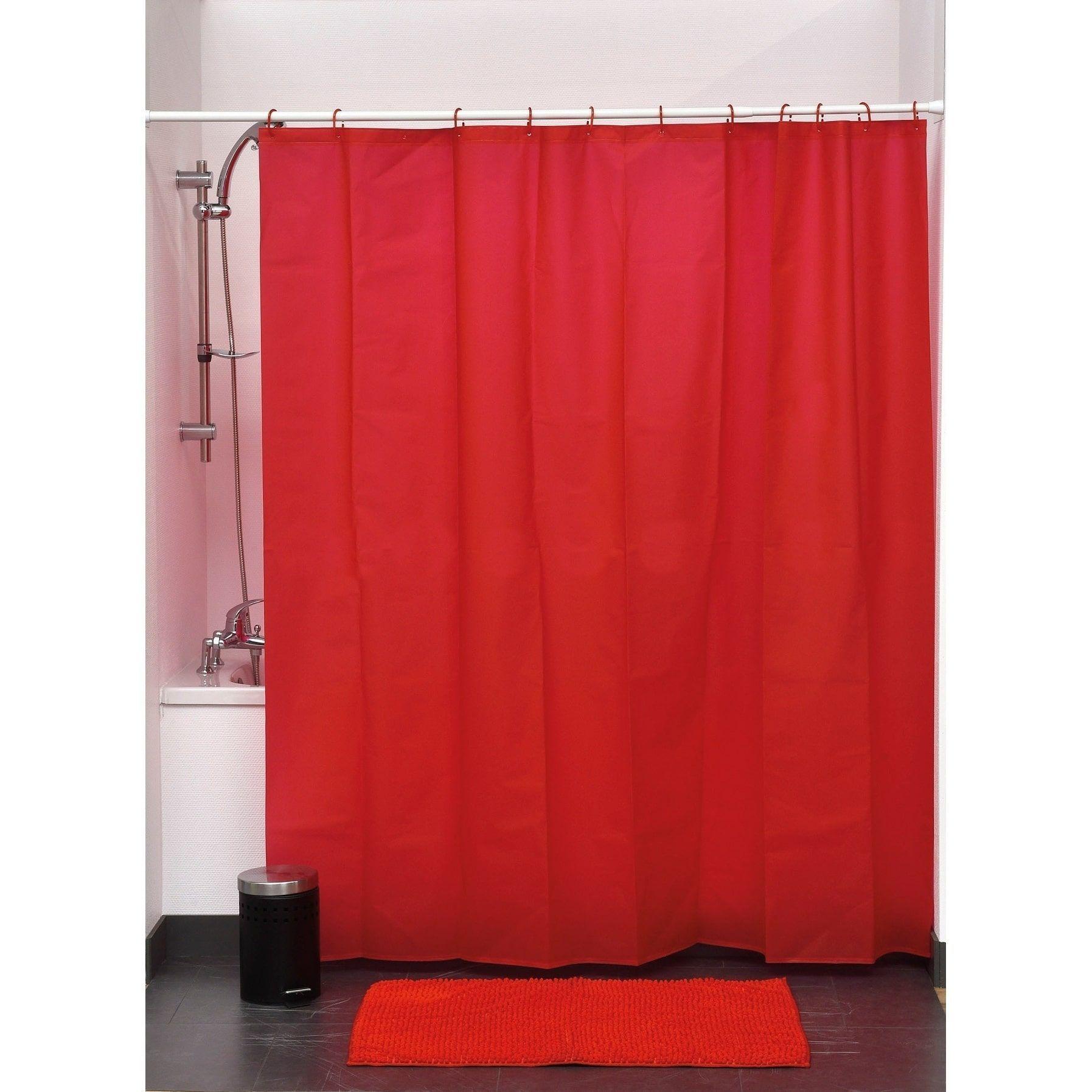 Evideco Bathroom Shower Curtain Eva Solid Color Red Bathroom