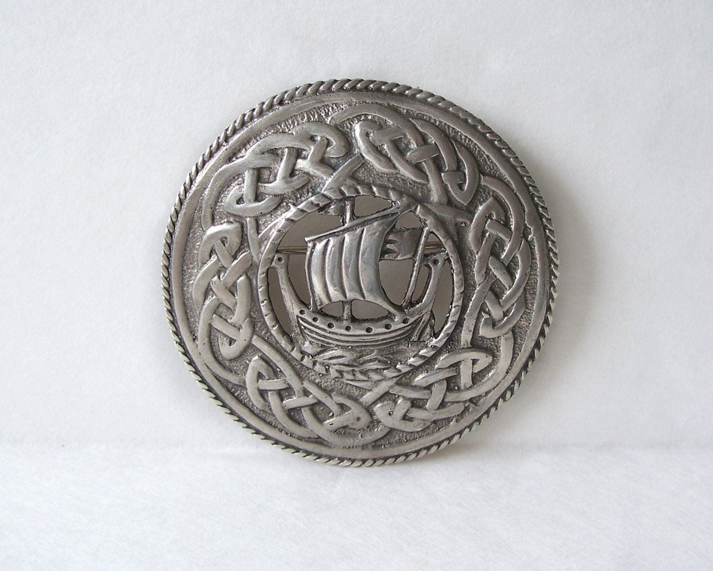 Norwegian Silver Viking Ship Kilt Pin Brooch by Elvik /& Co.