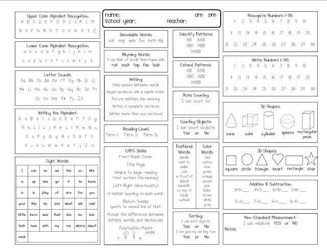 Kindergarten Report Card Template  Kindergarten Kidlets