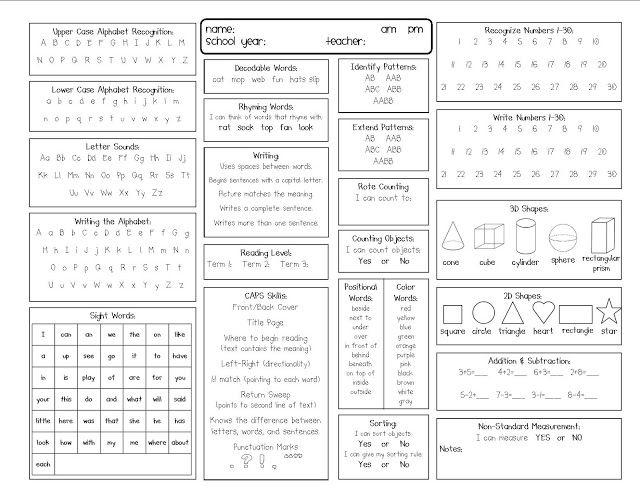 Kindergarten Kidlets Assessment Time Kindergarten Assessment Kindergarten Report Cards Preschool Assessment