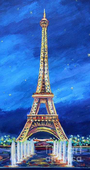 The Eiffel Tower At Night Art Print By John Clark Eiffel