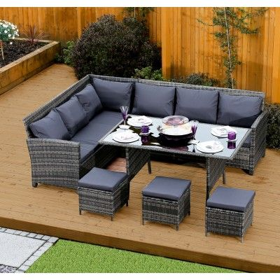 9 Seater Rattan Corner Garden Sofa & Dining Table Set In Dark Prepossessing Dining Room Table Protective Covers Review