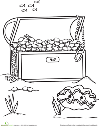 Treasure Chest Coloring Page | Education | Coloring pages, Treasure ...