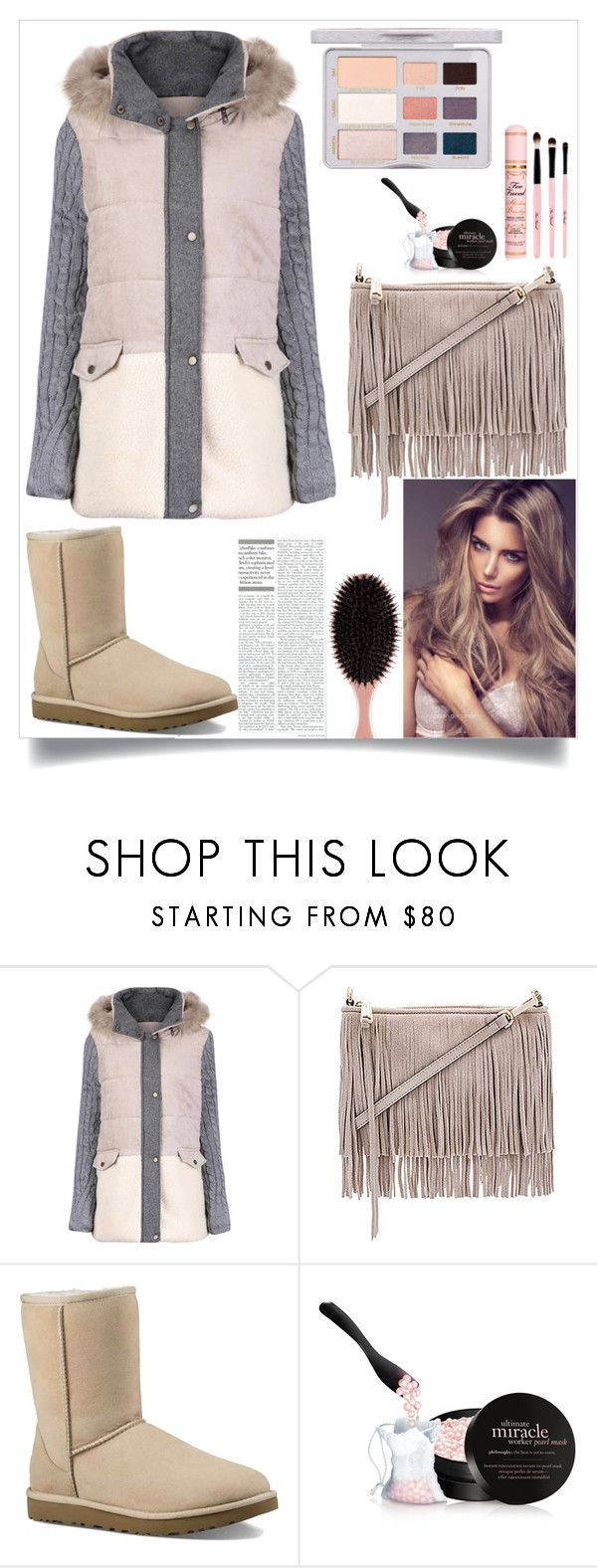 """Light Coat"" by martinezmariamm ❤ liked on Polyvore featuring Rebecca Minkoff, UGG Australia, Too Faced Cosmetics and philosophy"