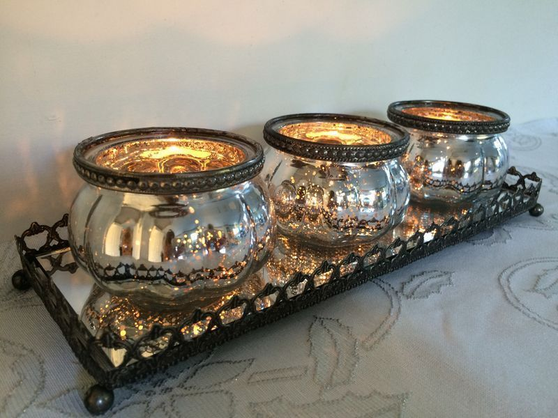Set of 3 Mercury Silver Glass Tea Light Holders Pumpkin Style on Mirrored Tray | eBay