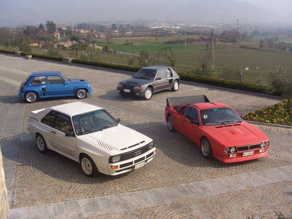 Straßenversionen der Rallyeautos 80er Jahre Gruppe B