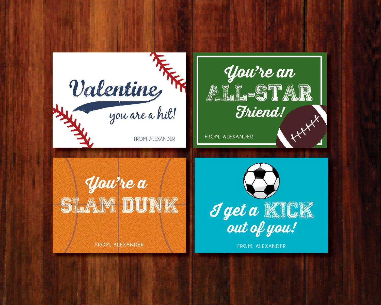 valentine printable cards sports baseball soccer football basketball by polkaprints on etsy https - Football Valentine Cards