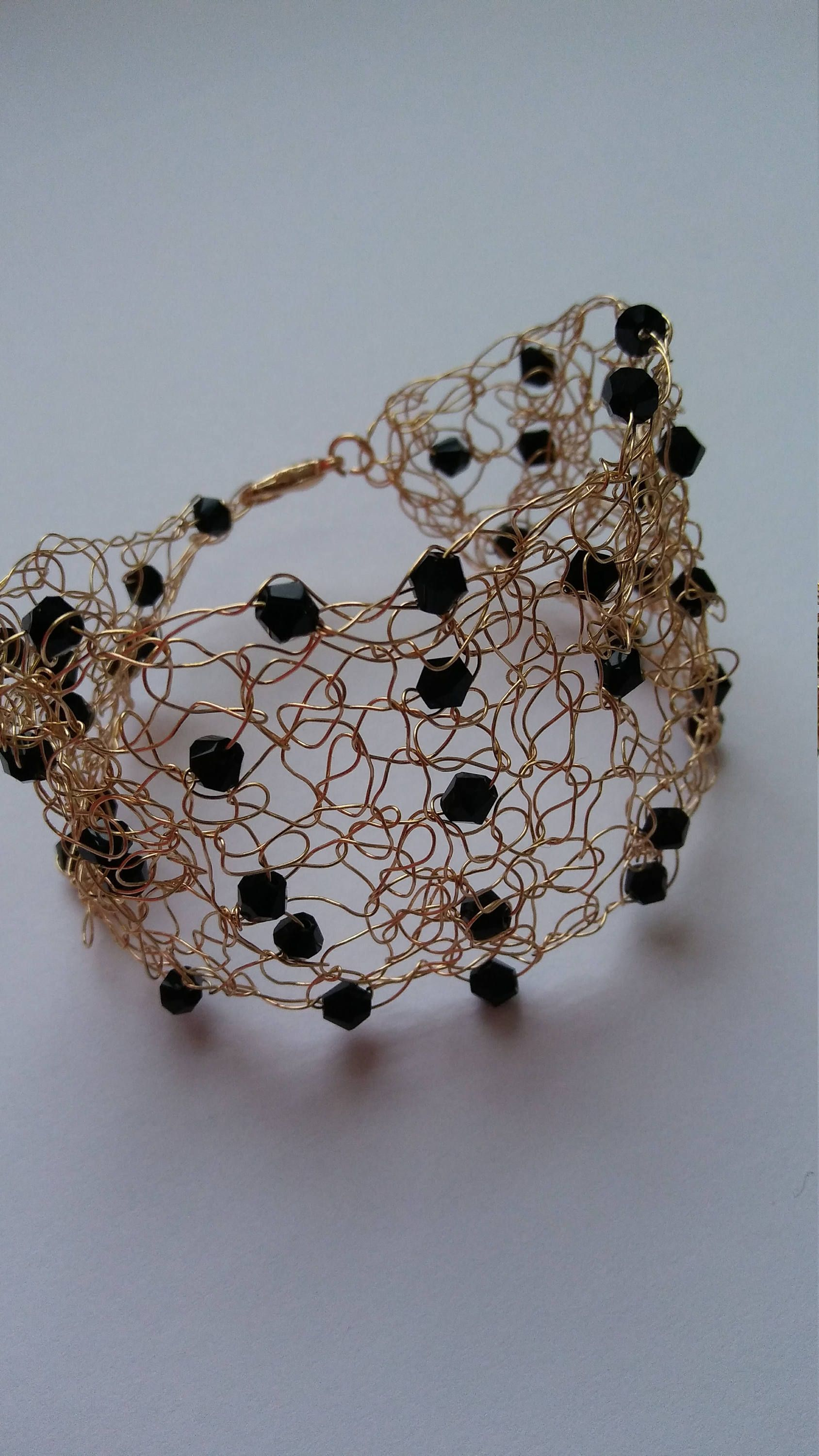 Handmade crochet wire bracelet gold color with black color beads ...