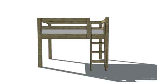 Free Woodworking Plans to Build a Twin Low Loft Bunk Bed - www ...