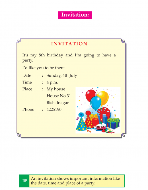 3rd Grade Invitation And Thank You Cards Sample Invitation Writing Writing Skills English Stories For Kids
