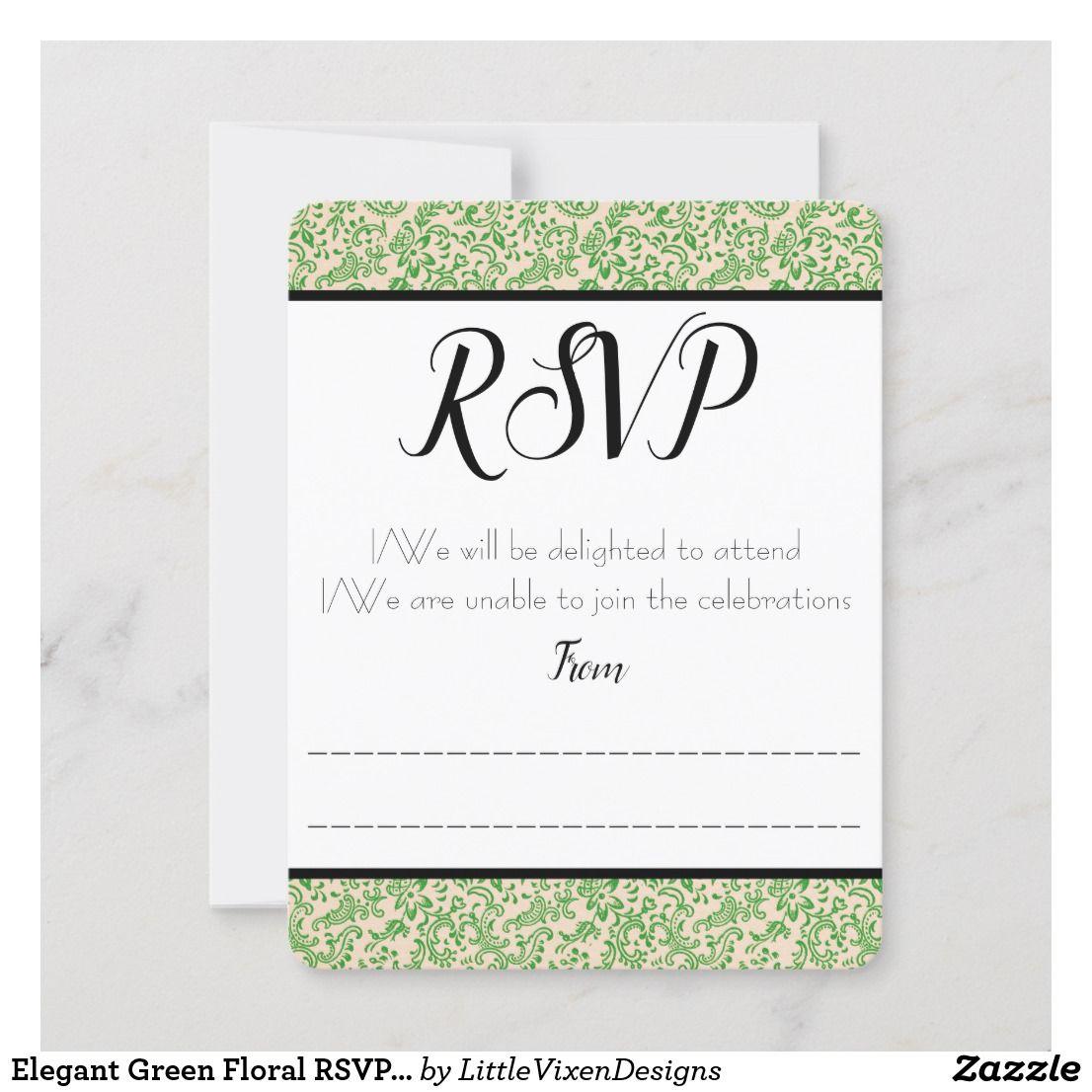 Elegant Green Floral RSVP / Response Card Zazzle.co.uk