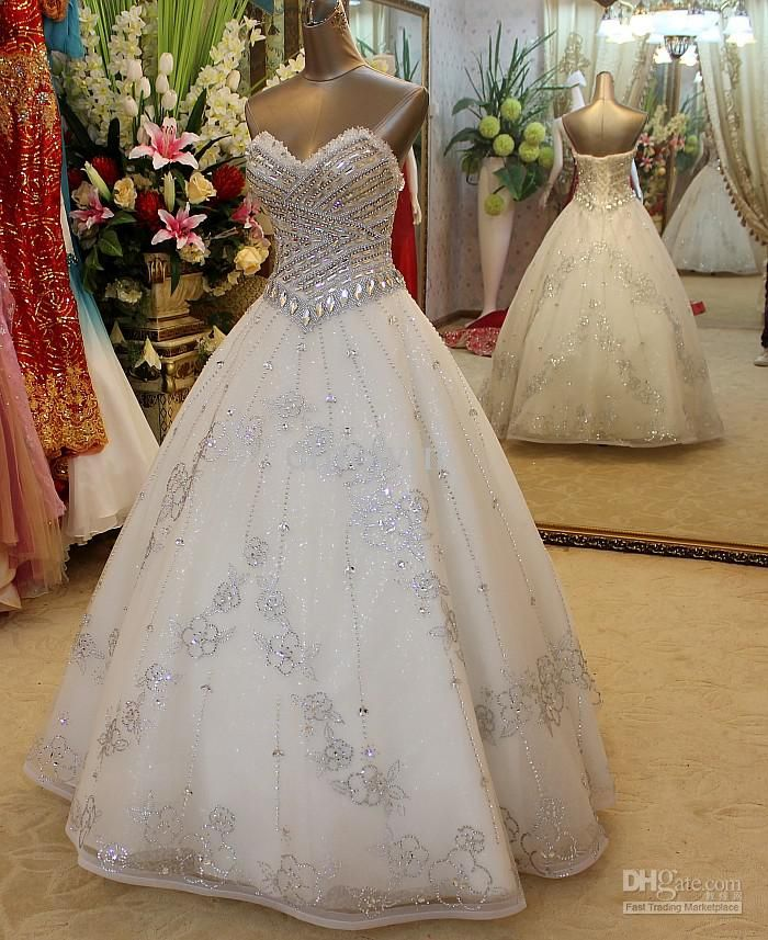 wedding dresses sweetheart neckline ball gown strapless with bling ...