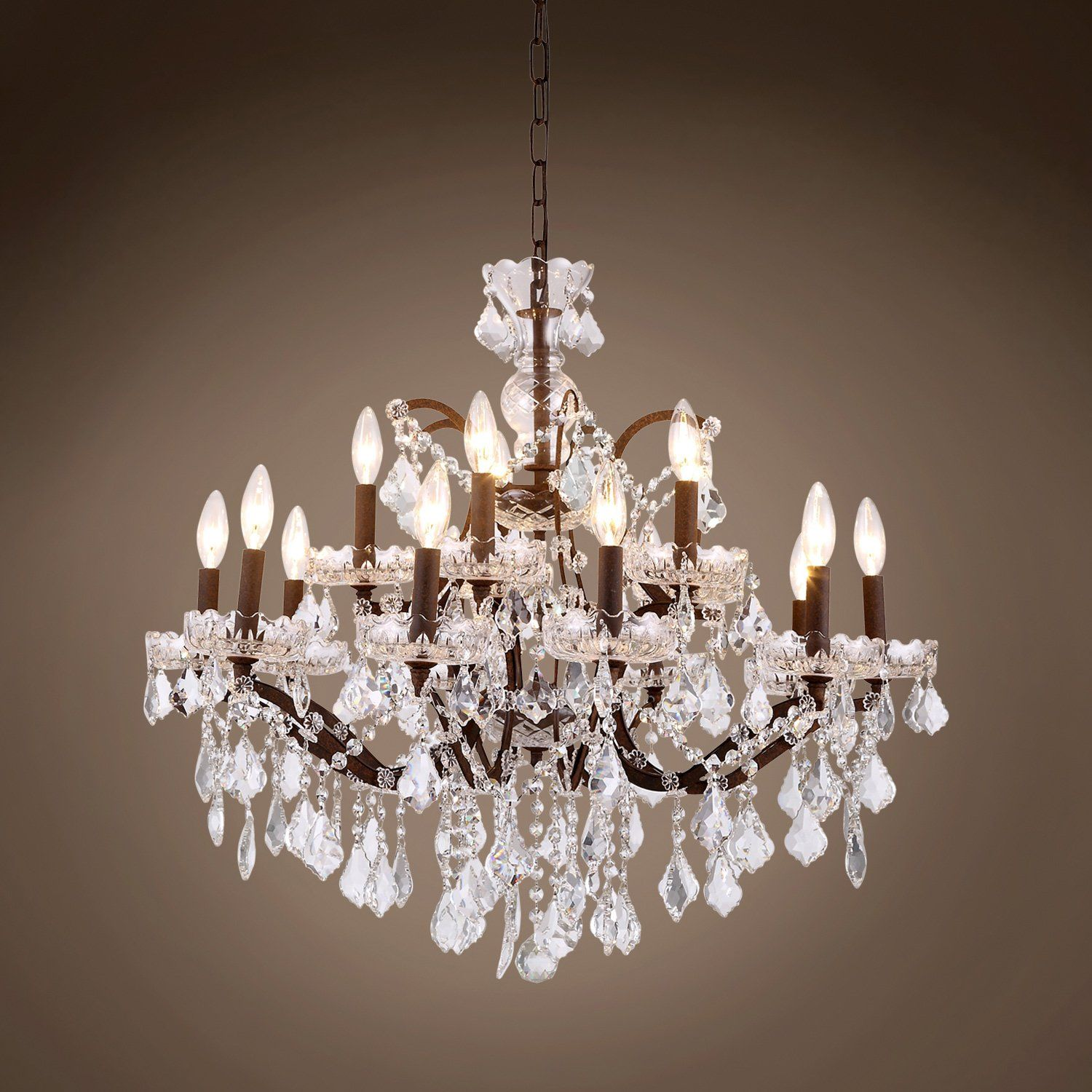 "19th C Rococo 15 Light 28"" Crystal Chandelier"